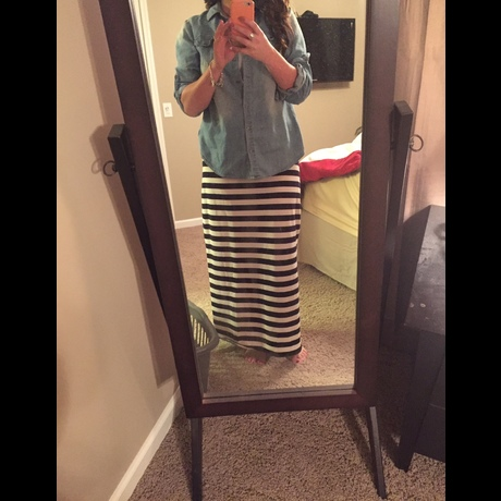 Lightbox striped skirt