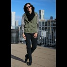 Thumb striped shirt olive vest 1