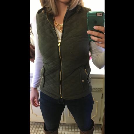 Lightbox fate quilted green suede vest