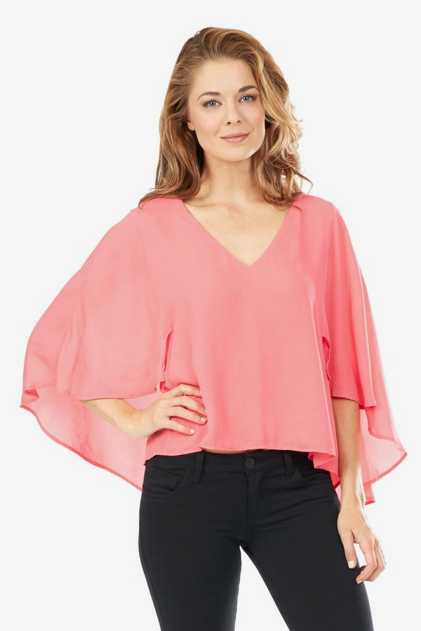 Pink Sheer V Neck Top