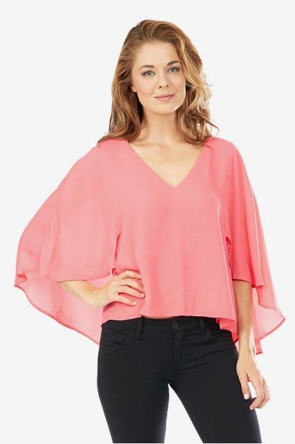 Pink Sheer V Neck Top
