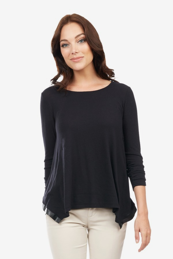 Ruched Leather Trim Top