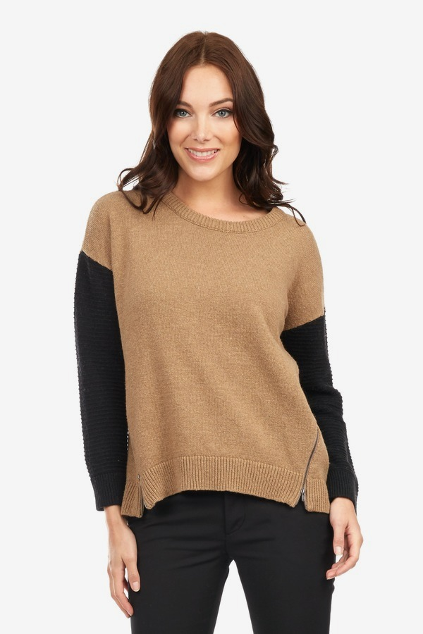 Zip Contrast Sweater