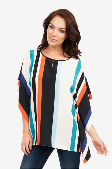 Striped Flutter Keyhole Top