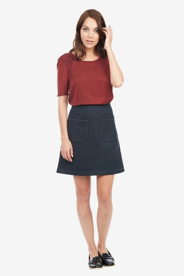 Knit Denim A-Line Skirt