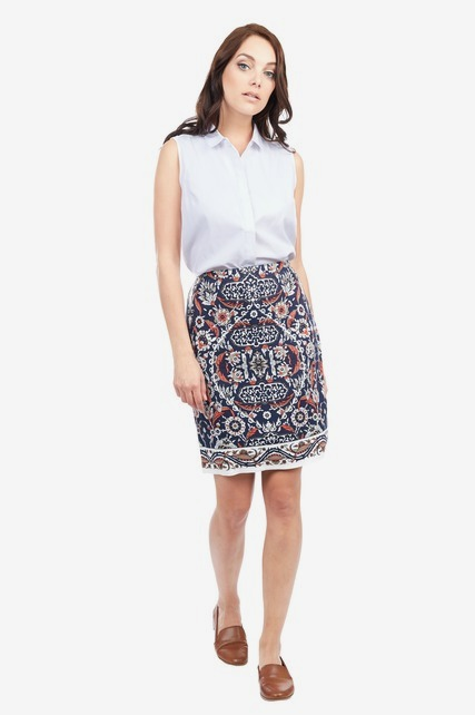 Tile Printed Pencil Skirt
