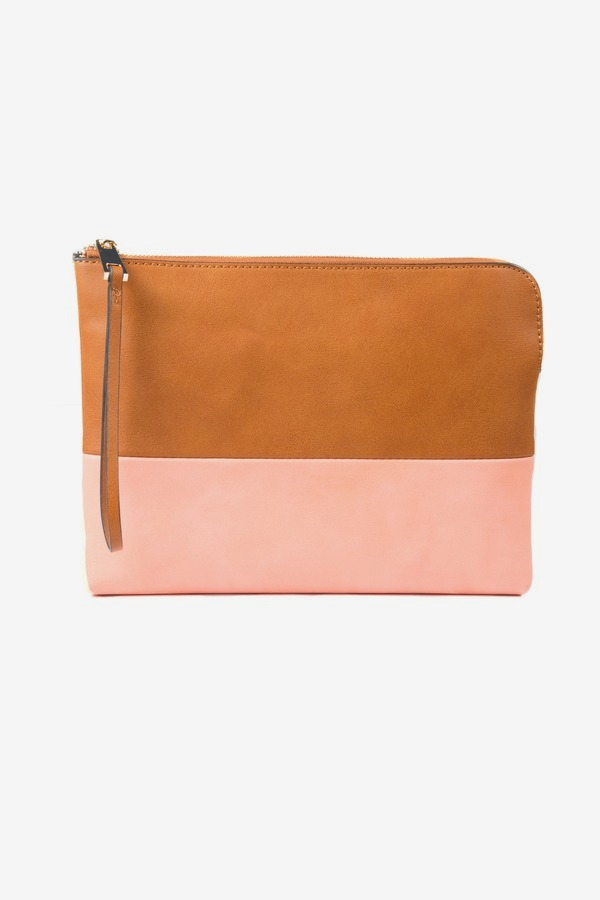Salmon Colorblock Pouch