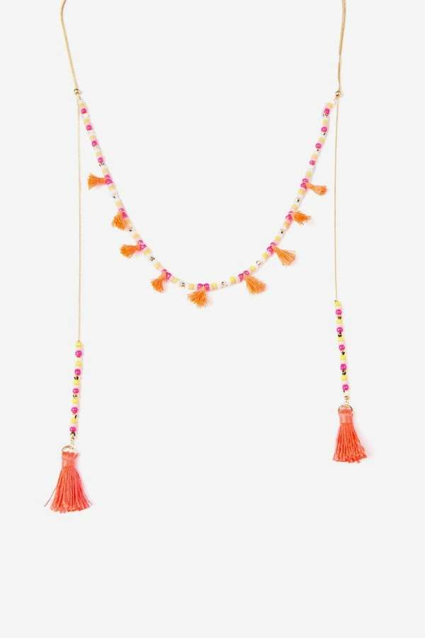 Fabric Tassel Necklace