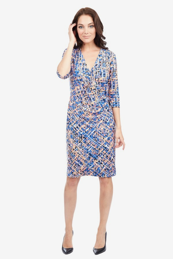 V-Neck Side Drape Dress