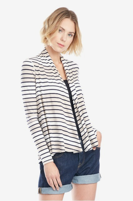 Open Front Striped Cardi