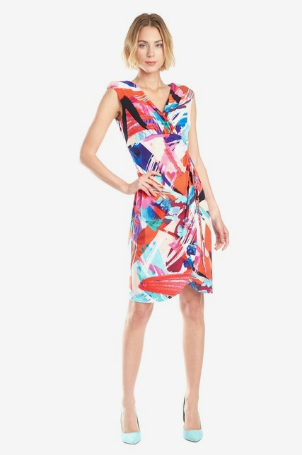Side Shirred Wrap Dress