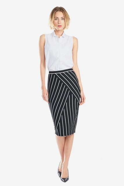 Crossover Stripe Skirt