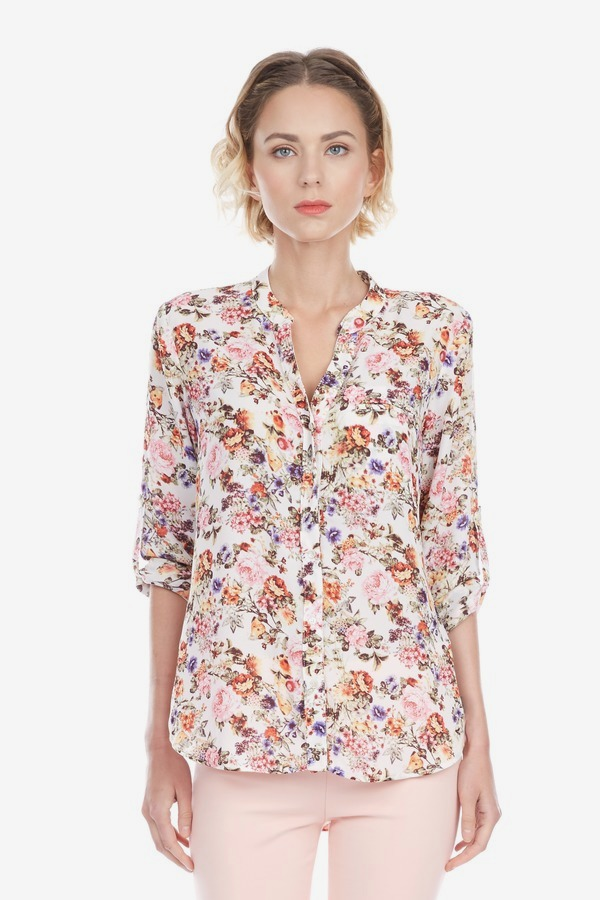 Floral Mock Collar Top