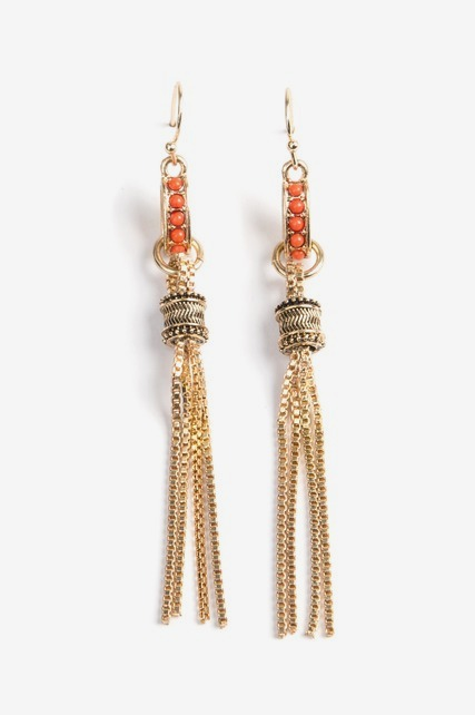 Coral Fringe Earrings