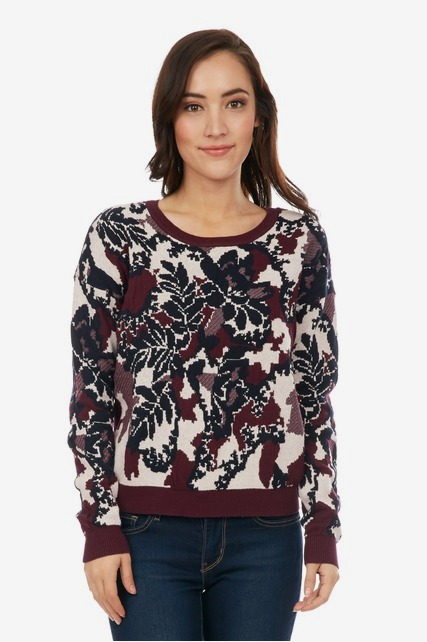 Textured Floral Sweater