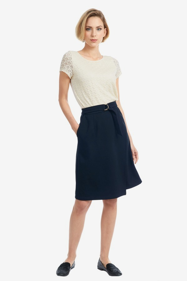 Front Wrap Belted Ponte Skirt