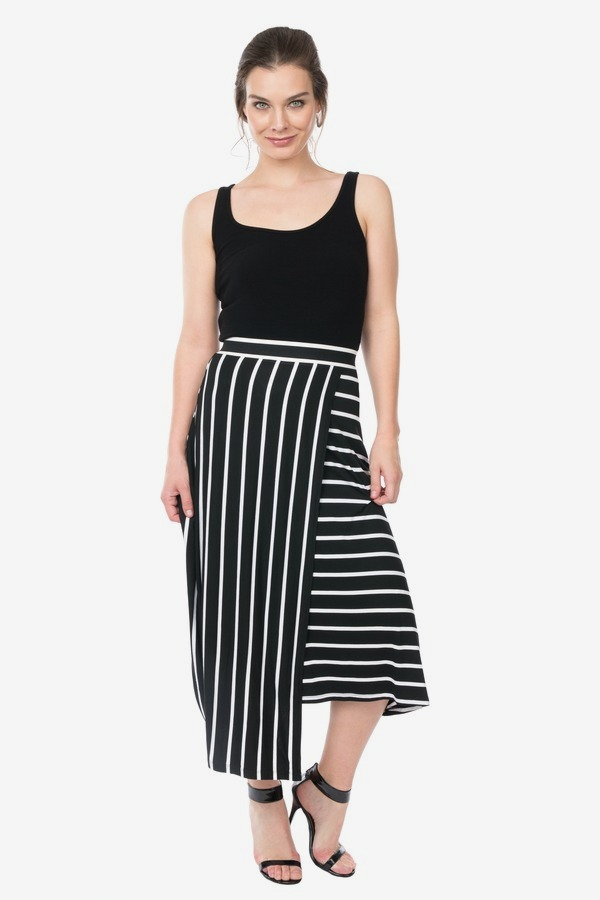 Wrap Front Stripe Skirt