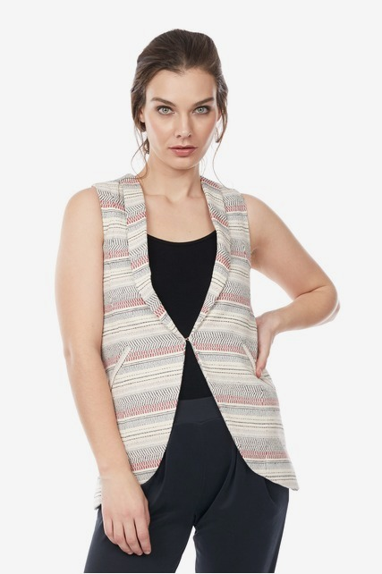 Long Striped Blazer Vest