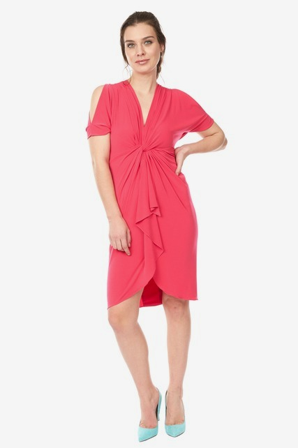 Front Knot Ruffle Dress