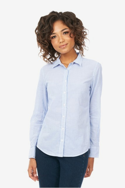 Fitted Striped Button Up Shirt