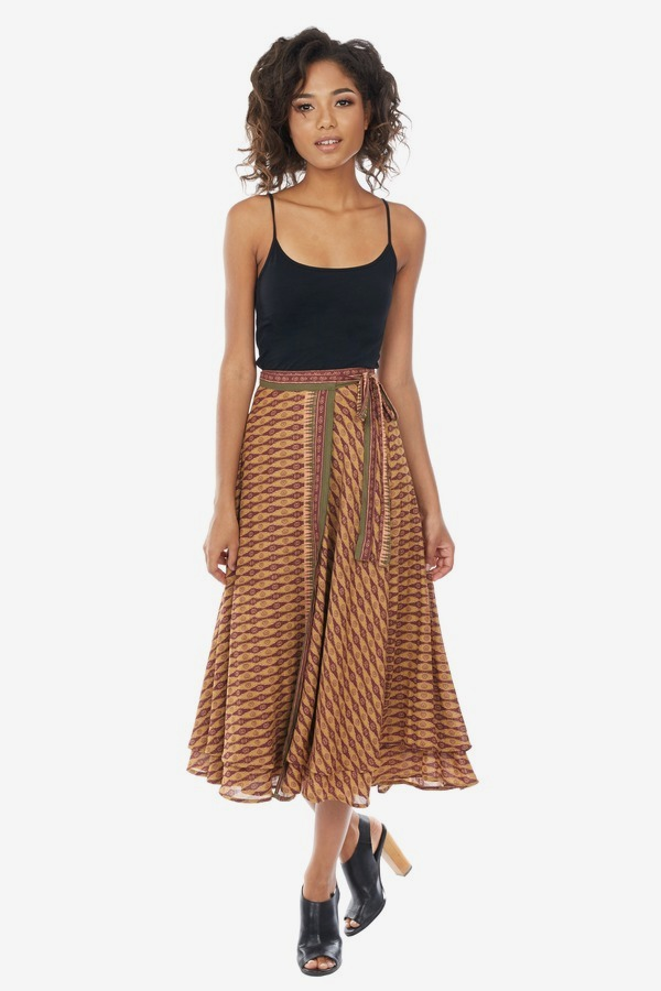 Boho Printed Wrap Skirt