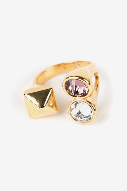 Two Stone Stud U Ring