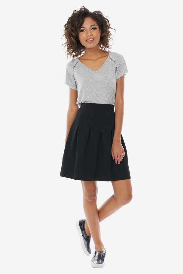 Pleated Yoke Skirt