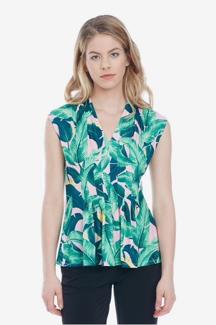 Tropical Pintuck Top
