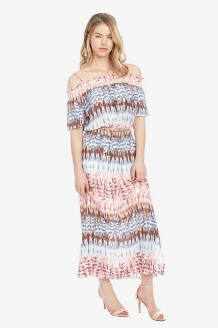 Abstract Smocked Maxi
