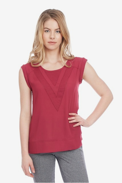 Textured Vee Neck Top