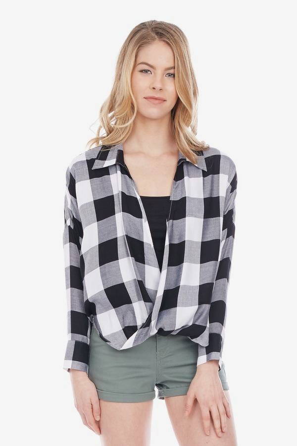 Buffalo Check Drape Top