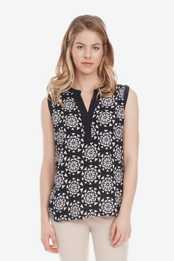 Abstract Geo Floral Top