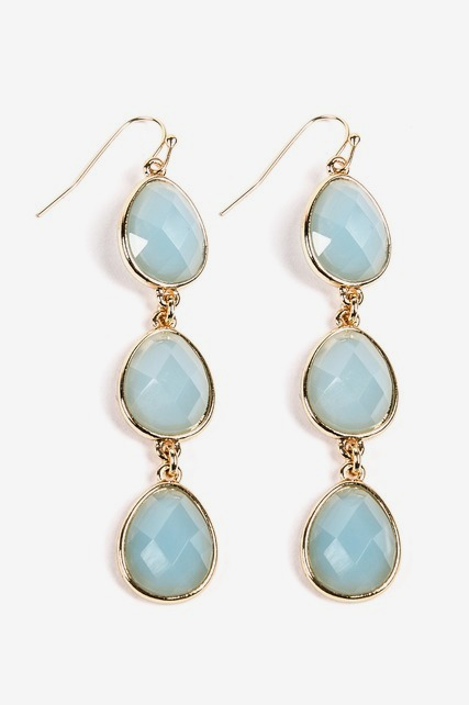 Triple Stone Drop Earring