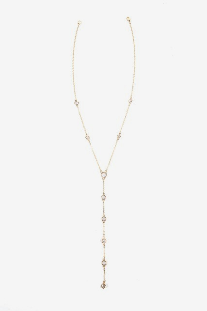 Channel Stone Lariat Necklace
