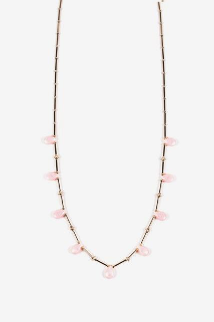 Pink Quartz Station Necklace