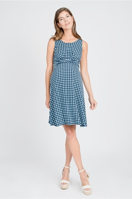 Waist Tie Gingham Dress