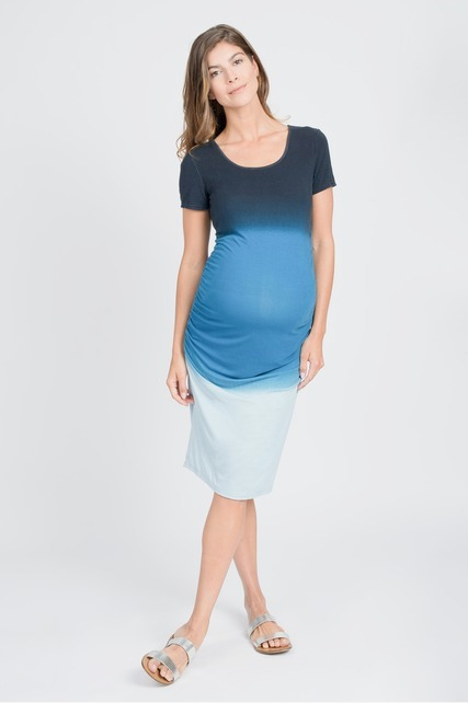 Ombre Ruched Midi Dress