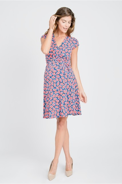 Fan Print Wrap Dress