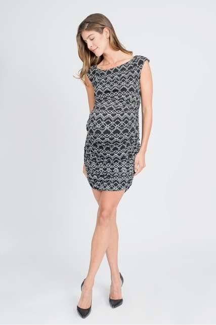 Geo Side Shirred Dress