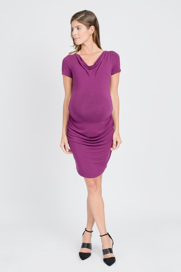 Fitted Cowl Neck Dress