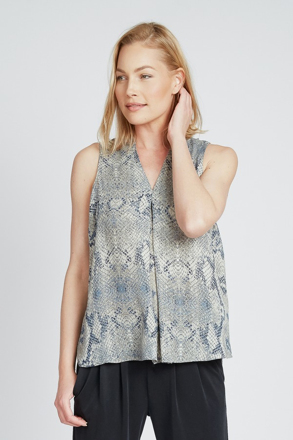 Blue Reptile V Neck Top