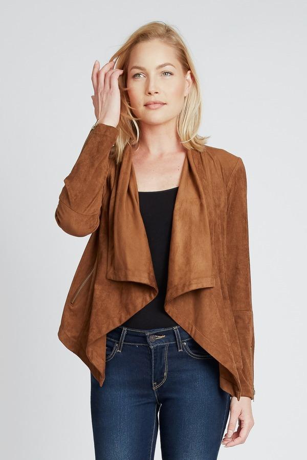 Drape Faux Suede Jacket