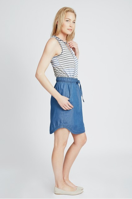 Chambray Drawstring Skirt
