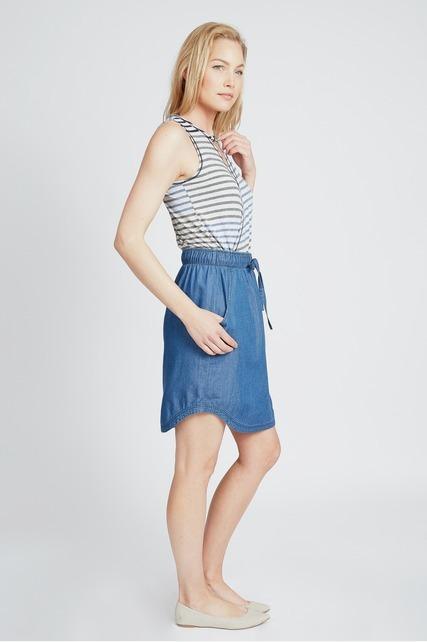 Chambray Drawstring Skirt