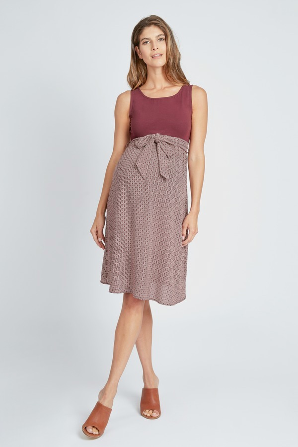 Tie Waist Abstract Dress