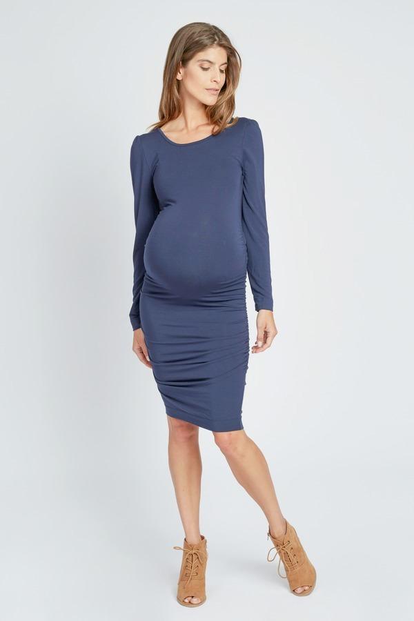 Scoop Back Shirred Dress