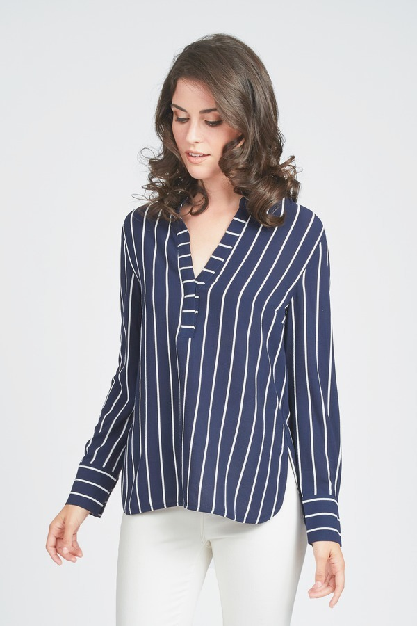 Striped Vee Neck Top