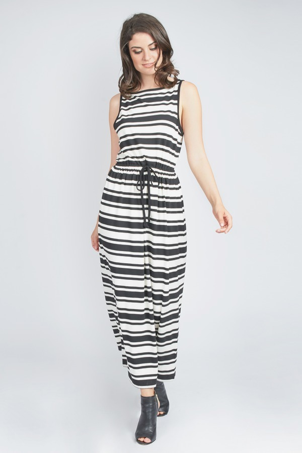 Striped Drawstring Maxi