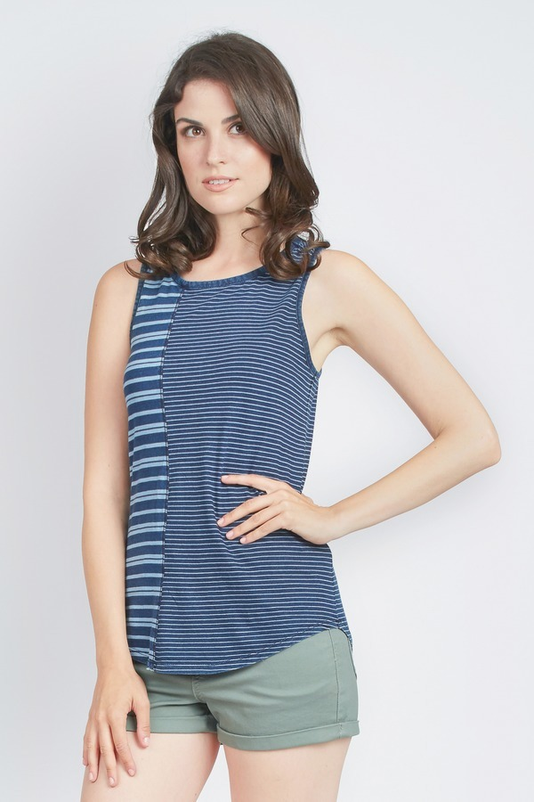 Stripe to Solid Tank Top