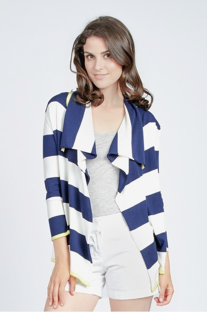 Striped Drape Cardigan